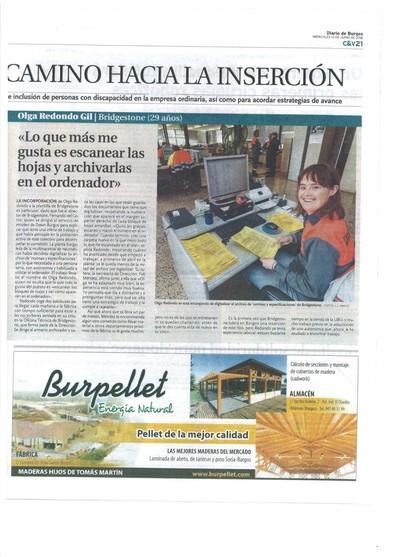 Olga en el Diario de Burgos
